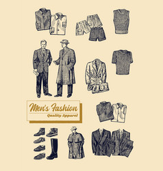 Mens clothing quality apparel set retro fashion vector