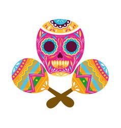 Mexican skull with maraca isolated icon vector