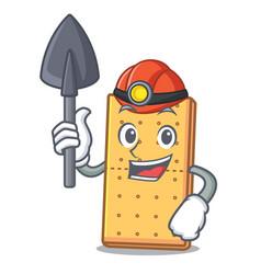Miner graham cookies mascot cartoon vector