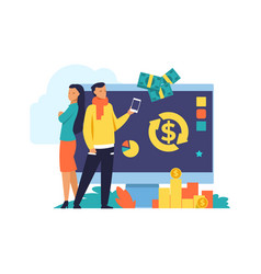 Money cashback and transfer flat vector