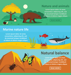 nature animals banner horizontal set flat style vector image