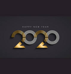 New year 2020 abstract number date gold card vector
