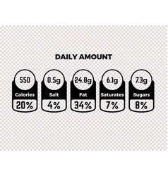 Nutrition facts package labels vector