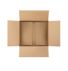 Open plain brown blank cardboard box isolated vector