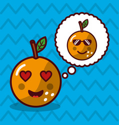 orange kawaii fruit with speech bubble character vector image