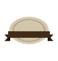 oval jagged shape seal stamp with brown label vector image