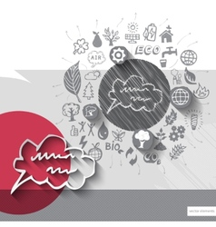 Paper and hand drawn speech bubble emblem with vector image
