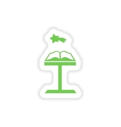 Paper sticker on white background Open Bible vector
