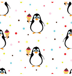 pattern with penguin and ice cream vector image