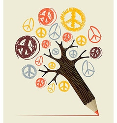 Peace icon tree pencil concept vector