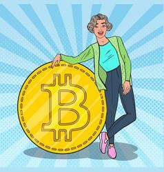 pop art smiling woman with big bitcoin vector image