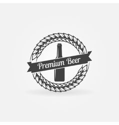 Premium beer bottle logo vector image