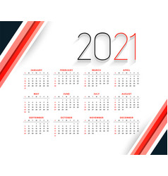 Professional 2021 modern calendar design red vector