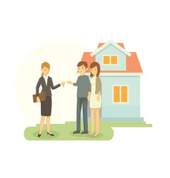 real estate agent showing the house that he sale vector image