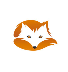 Red fox with tail negative space vector