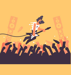rock guitarist plays at concert vector image