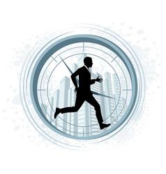 Running businessman silhouette vector