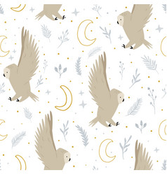 Seamless pattern with cute flying owls and hand vector