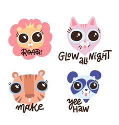 set fanny animals with shirt lettering quotes vector image