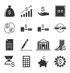 set of finance related icons isolated on white vector image