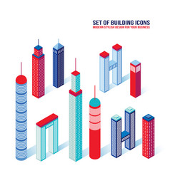 set of isometric building icons 3d architecture vector image