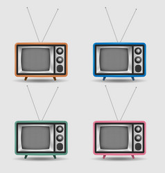 set of realistic retro tv icons vector image