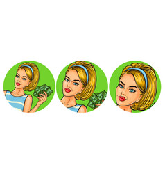 Set of womens pop art round vector