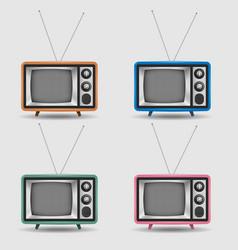 set realistic retro tv icons vector image