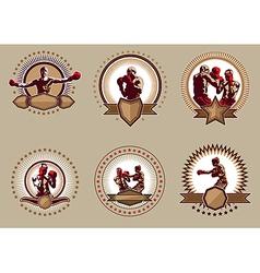 Set six circular boxing icons or emblems vector