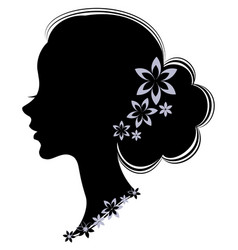 silhouette profile a cute lady s head the girl vector image