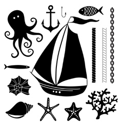 silhouette sea - hand drawn set sea symbols vector image