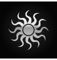 Silver Sun-sign icon on black background vector