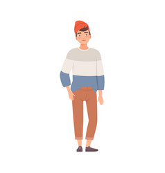Smiling teenager male standing in red hat and vector