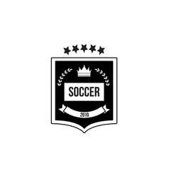 soccer black and white badge or emblem with crown vector image