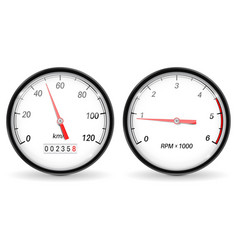 speedometer and tachometer white car dashboard vector image