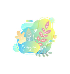 springtime banner with foliage and branches decor vector image