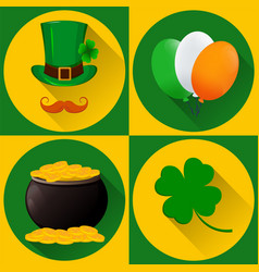 st patricks day set of icons green hat vector image