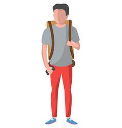 Standing young man with backpack and smartphone vector