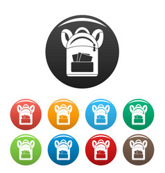 student backpack icons set color vector image