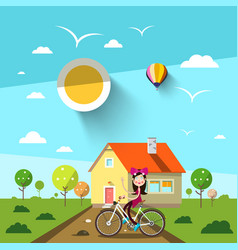 sunny day with house and girl on bicycle landscape vector image