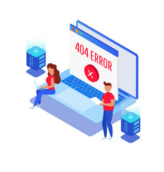 template for web page with 404 error vector image