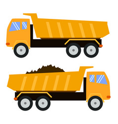 tipper truck dump truck cartoon style childlike vector image
