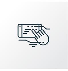 touchscreen technology icon line symbol premium vector image
