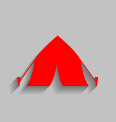 Tourist tent sign red icon with soft vector