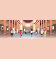 tourists visitors in classic historic museum art vector image