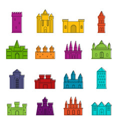 Towers and castles icons doodle set vector