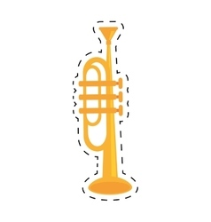 trumpet instrument music wind dotted line vector image