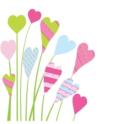 Valentines card with flowers and hearts vector image