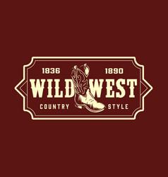 vintage wild west monochrome print vector image