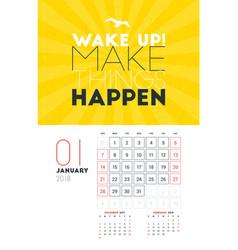 Wall calendar template for january 2018 design vector